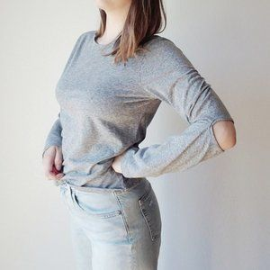 Monrow Gray Cutout Elbows Long Sleeve Tee - M EUC